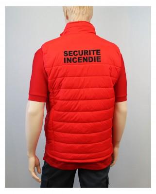 Doudoune Sécurité Incendie rouge sans manches