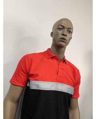 Polo tricolore avant bande perssonalisable bande Dos Sécurité