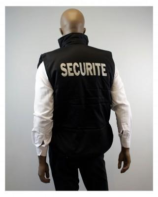 lot de 10 Gilets multi poches noir broderie sécurité coeur et dos